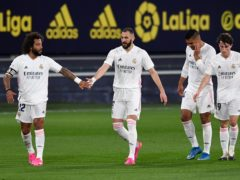 Real Madrid frontman Karim Benzema (second left) again proved too hot to handle against Cadiz (Jose Breton/AP/Press Association Images)