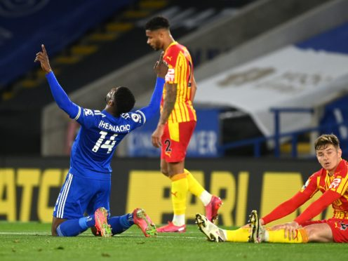 Leicester's Kelechi Iheanacho wrapped up victory against West Brom. (Michael Regan/PA)