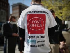 Protesters outside the Royal Courts of Justice in London, where dozens of former subpostmasters who were convicted of theft, fraud and false accounting, because of the Post Office's defective Horizon accounting system, are expected to finally have their names cleared by the Court of Appeal. Issue date: Friday April 23, 2021.