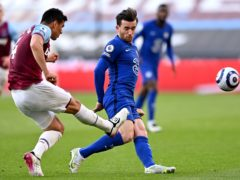 West Ham's Fabian Balbuena, left, was controversially sent off after catching Chelsea's Ben Chilwell with his studs (Justin Setterfield/PA)
