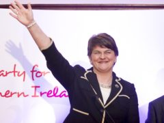 Arlene Foster after she was formally elected as leader of the Democratic Unionist Party in 2015 (Liam McBurney/PA)