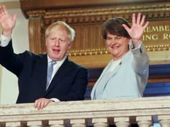 UK Prime Minister Boris Johnson and Arlene Foster, who is stepping down as DUP party leader and as First Minister (Niall Carson/PA)