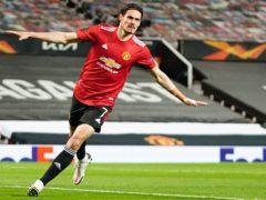 Edinson Cavani celebrates after scoring Manchester United's second goal (Jon Super/AP)