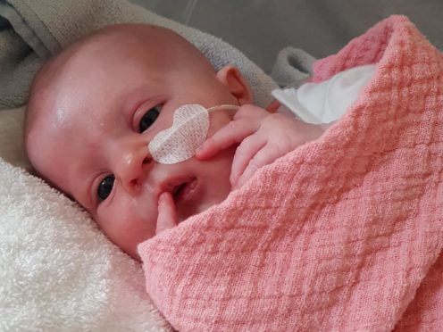 Four-month-old Florentina became the 50th patient to receive a life-saving thymus transplant at GOSH (Family handout courtesy of GOSH/GOSH Charity/PA)
