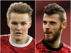 Martin Odegaard and David De Gea (Adam Davy/Phil Noble/PA)