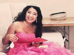 Adriana Palma wears a tiara and ballgown on her quinceanera, her 15th birthday celebration (Caring Place@ Miami Rescue Mission via AP)