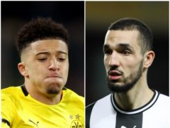 Jadon Sancho and Nabil Bentaleb (Adam Davy/David Davies/PA)
