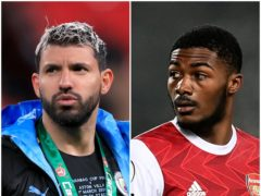 Sergio Aguero and Ainsley Maitland-Niles (Mike Egerton/Michael Regan/PA)