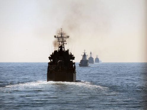 Russian units seen from astern passing through the Dover Strait (Royal Navy/PA)