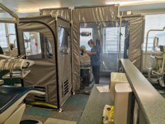 One of the isolation pods in use at Dundee (Starn Group/PA)