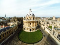 A view of (L-R) Brasenose College, the Radcliffe Camera (a library), the Codrington Library and All Souls' College in Oxford.