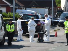The scene outside an address in Telford where former Aston Villa footballer Dalian Atkinson died after being tasered by police (Joe Giddens/PA)