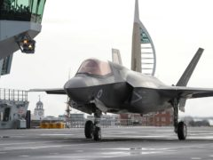 An RAF F35 preparing for take off from the Royal Navy aircraft carrier HMS Queen Elizabeth (LPhot Belinda Alker/MoD/PA)