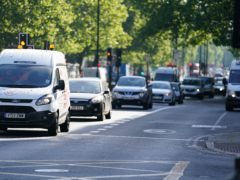 Traffic on the Marylebone Road, London, after the introduction of measures to bring the country out of lockdown.