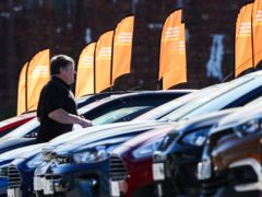 New car sales were down around 13% on the pre-pandemic April average, preliminary figures show (Peter Byrne/PA)
