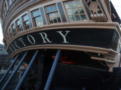 HMS Victory undergoes her biennial painting at the National Museum of the Royal Navy's Portsmouth Historical Dockyard. Since 2015, the ship has been painted in the colours she was in at the time of the Battle of Trafalgar in 1805.