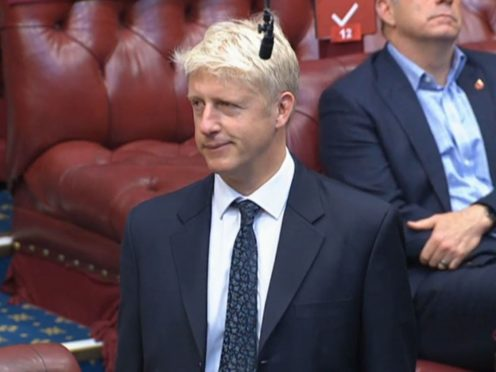 Jo Johnson, the Prime Minister's brother, as he takes his seat in the Lords following his controversial appointment to the unelected chamber (House of Lords/PA)