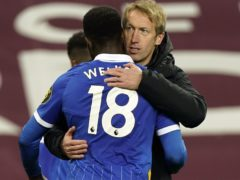 Brighton manager Graham Potter, right, has been impressed by Danny Welbeck (Tim Keeton/PA)