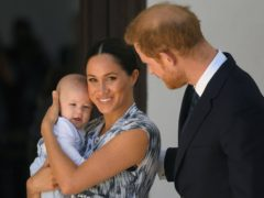 Duke and Duchess of Sussex with their son Archie during a meeting with Archbishop Desmond Tutu (Toby Melville/PA)