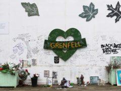 The Grenfell Memorial Wall in the grounds of Kensington Aldridge Academy (Jonathan Brady/PA)