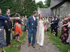 James and Lucy Bone after their wedding at St Michael and all Angels Church in Ingram, Northumberland (PA)