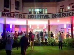 The fire broke out at the Welfare Hospital in Bharuch, western India (KK Productions/AP)
