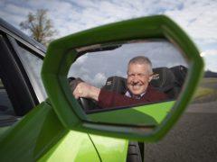 Scottish Liberal Democrat leader Willie Rennie drives a Lamborghini Huracan supercar at Ingliston Racing Circuit at the Royal Highland Centre, in Edinburgh (Jane Barlow/PA)
