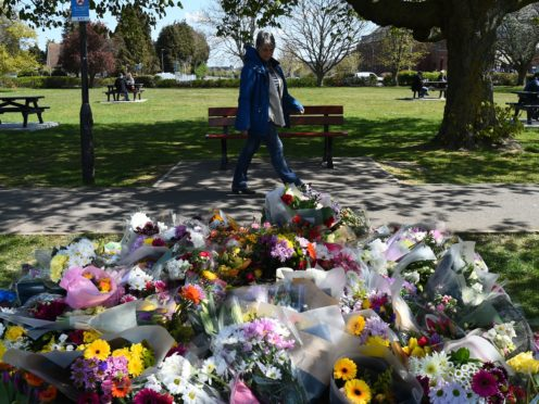 Floral tributes to Julia James in a park in Aylesham village (Kirsty O'Connor/PA)