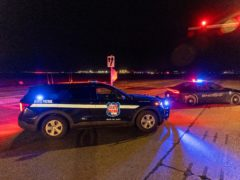 Police outside the Oneida Bingo and Casino in Green Bay, Wisconsin (Mike Roemer/AP)