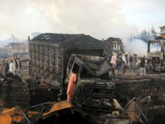 A damaged truck that caught fire in Kabul, Afghanistan (Rahmat Gul/AP)