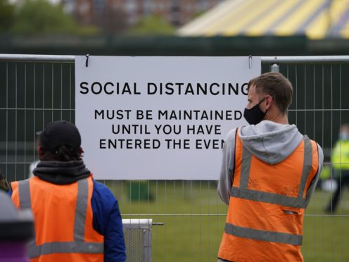 Signage outside a music festival in Sefton Park in Liverpool (Danny Lawson/PA)