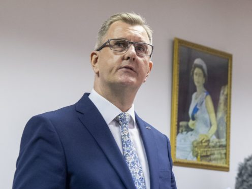 DUP MP for Lagan Valley Sir Jeffrey Donaldson launches his campaign to become leader of the DUP at the constituency office of DUP MP Gavin Robinson in east Belfast (PA)