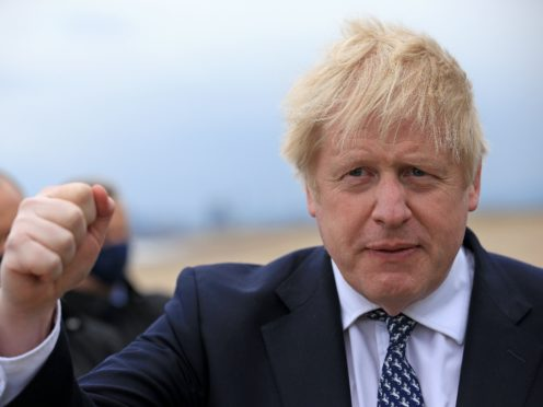 Prime Minister Boris Johnson in Hartlepool (Lindsey Parnaby/PA)