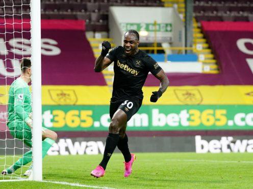 Michail Antonio celebrates scoring West Ham's winner at Burnley (Jon Super/PA).