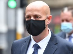 West Mercia Police Constable Benjamin Monk arrives at Birmingham Crown Court to stand trial, accused of the murder, and an alternative charge of manslaughter, of former footballer Dalian Atkinson (Jacob King/PA)