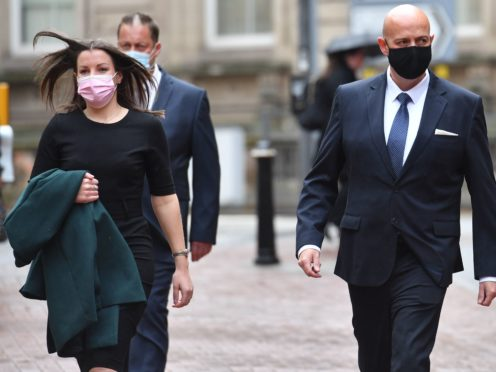 West Mercia Police Constables Benjamin Monk (right) and Mary Ellen Bettley-Smith (left) arrive at Birmingham Crown Court (Jacob King/PA)