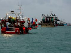 French fishing vessels staging a protest outside the harbour at St Helier (Gary Grimshaw/Bailiwick Express/PA)
