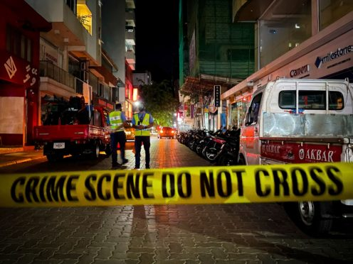 The scene of the blast in the Maldives (Mohamed Sharuhaan/AP)