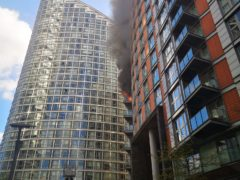 The fire at New Providence Wharf in London (Athina Fokidou/PA)