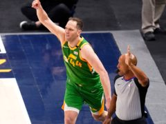 Utah Jazz forward Bojan Bogdanovic (44) celebrates after scoring a 3-pointer against the Denver Nuggets (Rick Bowmer/AP)