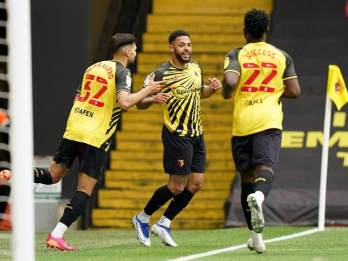 Andre Gray, centre, celebrates after scoring for Watford in their 2-0 win over Swansea (Tess Derry/PA)