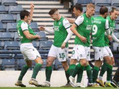 Hibernian's Kevin Nisbet (centre) scored against Dundee United (Jeff Holmes/PA)