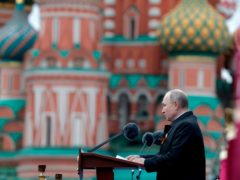 Vladimir Putin delivering his speech during the Victory Day military parade in Moscow (Mikhail Metzel, Sputnik, Kremlin Pool Photo via AP)