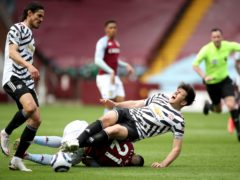 Manchester United's Harry Maguire suffered ankle ligament damage against Aston Villa (Nick Potts/PA).