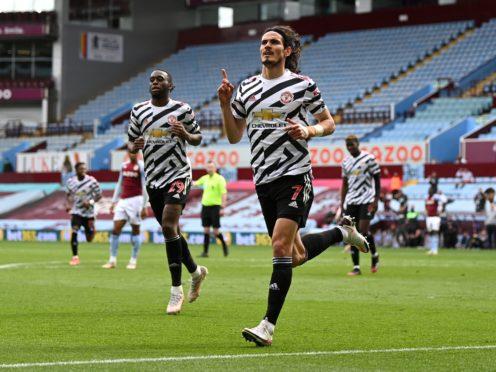 Edinson Cavani celebrates scoring United's third goal (Shaun Botterill/PA)