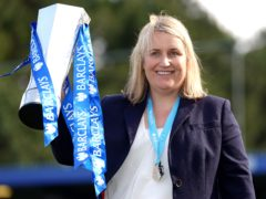 Chelsea manager Emma Hayes celebrates with the Women's Super League trophy (John Walton/PA)