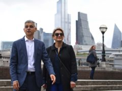 Sadiq Khan arrives at Shakespeare's Globe theatre with his wife Saadiya to be signed in for a second term as London Mayor (Stefan Rousseau/PA)