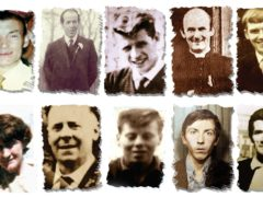 Joseph Corr, Danny Taggart, Eddie Doherty, Father Hugh Mullan, Frank Quinn (left to right, bottom row) Joan Connolly, John McKerr, Noel Philips, John Laverty and Joseph Murphy were all gunshot victims of the Ballymurphy massacre in west Belfast in 1971 (Ballymurphy Massacre Committee/PA)
