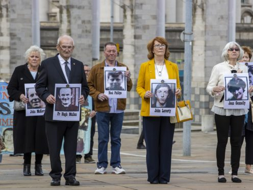 Families of people who were killed at Ballymurphy arrive the International Convention Centre in Belfast (Liam McBurney/PA)
