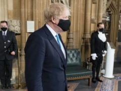 Prime Minister Boris Johnson processes through the Central Lobby with other party leaders on their way from the House of Lords after listening to the Queen's Speech during the State Opening of Parliament in the House of Lords at the Palace of Westminster in London. Picture date: Tuesday May 11, 2021.